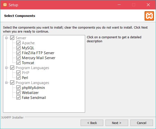 XAMPP - выбор компонентов