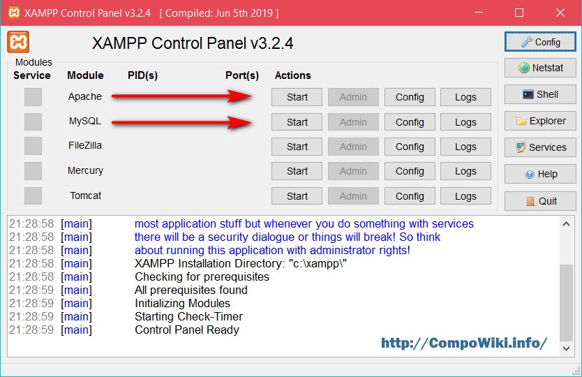 XAMPP - старт модулей