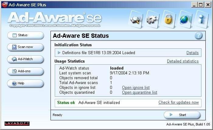 Ad-aware SE– главное окно